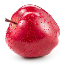 Red Apple With Drops Isolated On White.