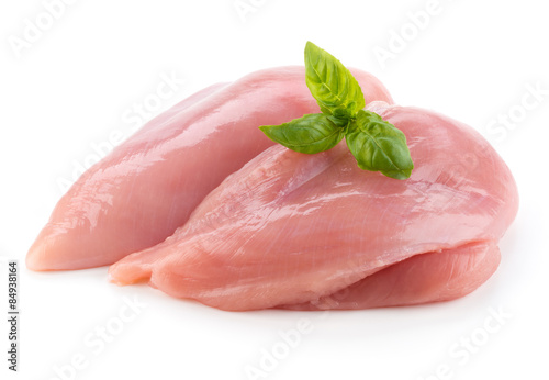 Keuken foto achterwand Kip Raw chicken fillets close up isolated on white