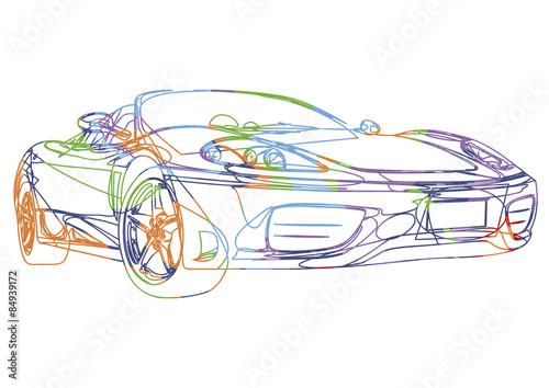 Fotografie, Obraz  Esquisse multicolore d'une voiture de sport