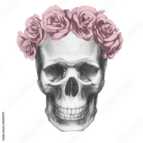 Printed kitchen splashbacks Watercolor skull Original drawing of Ram with roses. Isolated on white background