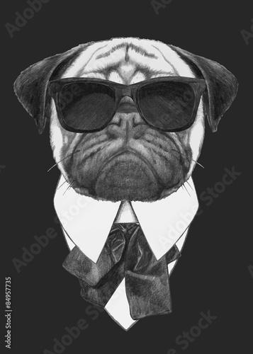 Fotografia  Hand drawn fashion Illustration of Pug Dog with sunglasses