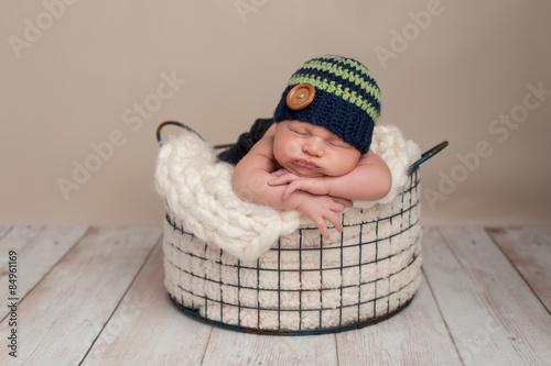 Newborn Baby Boy Wearing a Beanie Cap Canvas Print