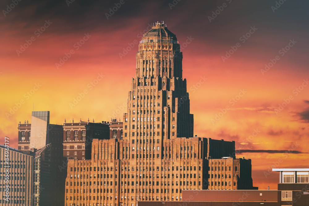 Fototapety, obrazy: Buffalo City Hall Sunset. Buffalo City Hall and the Buffalo, New York skyline during sunset. Edited with a vintage look.