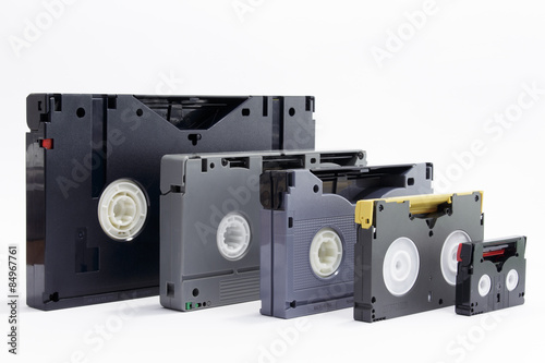 Evolution of professionals video tapes Fototapeta