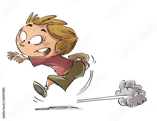 niño corriendo asustado Canvas Print