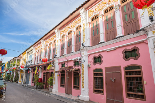 Fototapeta The Old Town Phuket Chino Portuguese Style at soi rommanee talang road