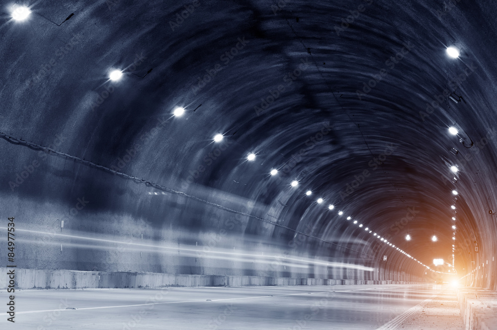 Fototapeta Abstract car in the tunnel trajectory