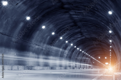 Abstract car in the tunnel trajectory Canvas