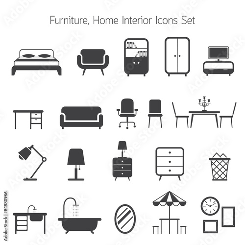 Fotografía  Furniture Mono Icons Set
