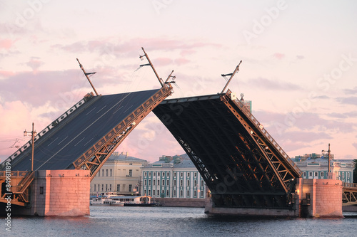Landscape with the image of open Palace bridge from the Neva river in St Wallpaper Mural