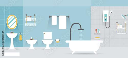 Valokuva  Bathroom Furniture Display Panorama