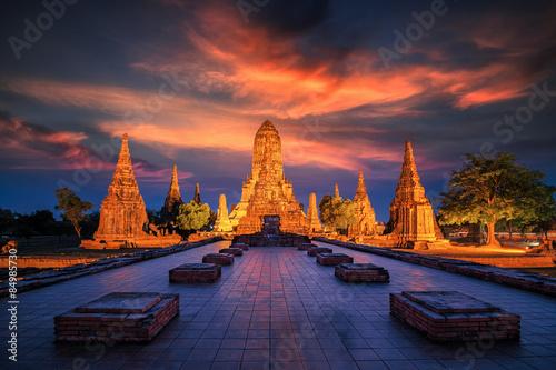 Photo Old Temple wat Chaiwatthanaram of Ayutthaya Province