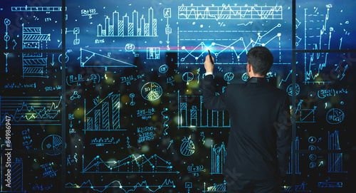 Drawing businessman with statistics background