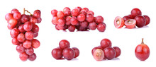 Red Grapes Isolated On A White...