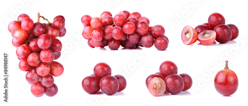 Valokuva Red grapes isolated on a white background