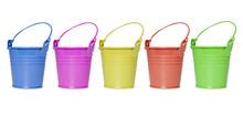 Colorful Buckets / Many Colorful Buckets Isolated On White Background