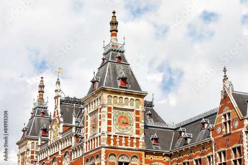 Photo  Beautiful fragment of a building in Amsterdam Central Station