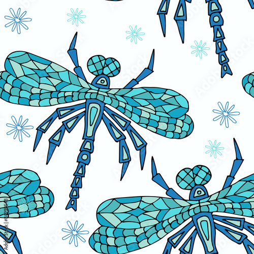 In de dag Boho Stijl Hand drawn Zentangle seamless pattern with Dragonflies. Use for cards, invitation, wallpapers, pattern fills, web pages elements and etc.