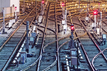 Night View Of Rail Tracks In Depot, Kiev
