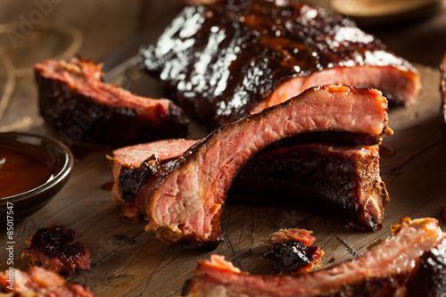 Stampa su Tela Homemade Smoked Barbecue Pork Ribs