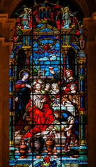 NaklejkaJesus and Mary at the Wedding at Cana - Stained Glass
