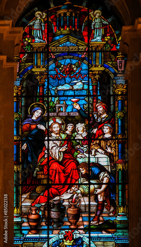 Stampa su Tela Jesus and Mary at the Wedding at Cana - Stained Glass
