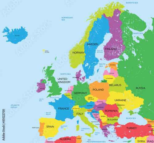 Political map of Europe high detail Fototapeta
