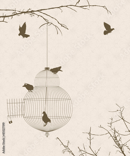 Valokuvatapetti Vintage style card with bird silhouettes and birdcage