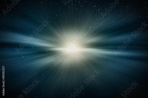 우주 에서의 태양 폭발과 빛 Fototapeta
