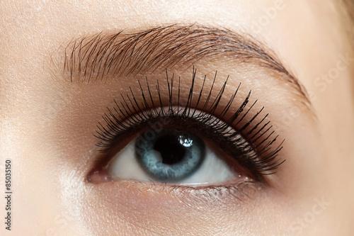 Photo  Close-up of make-up eye with long eyelashes