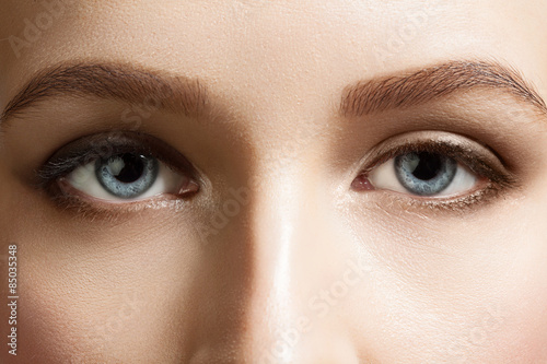 Valokuva  Close-up of make-up beautiful blue eyes woman
