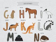 Cute Cartoon Funny Zoo Alphabet In Vector. G, H, I, J, K, L, M, N Letters. Gopher, Horse, Ibis, Jackal, Kangaroo, Lemur, Mole, Nutria. Design In A Colorful Style.