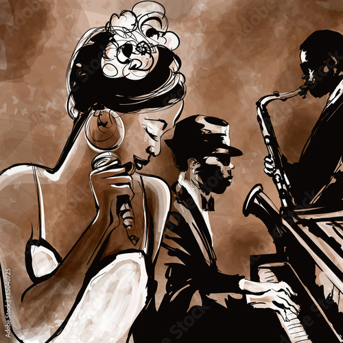 Jazz band with singer, saxophone and piano - illustration Poster