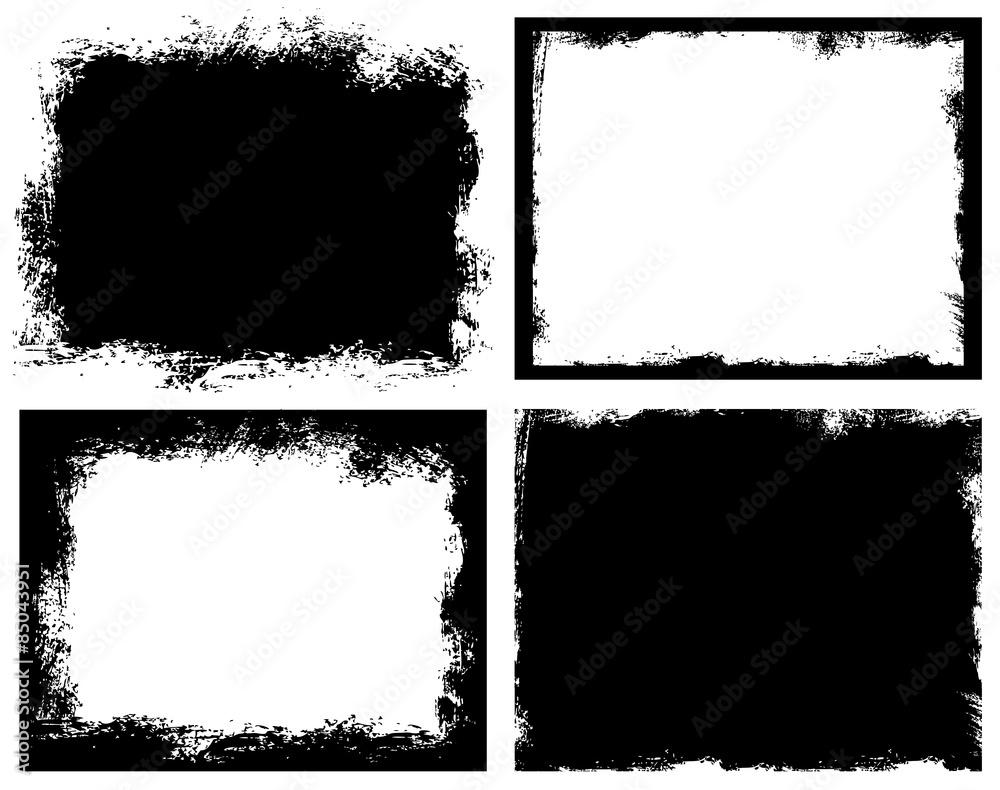 Fototapeta Set of grunge background. Broken dirty rough frames.