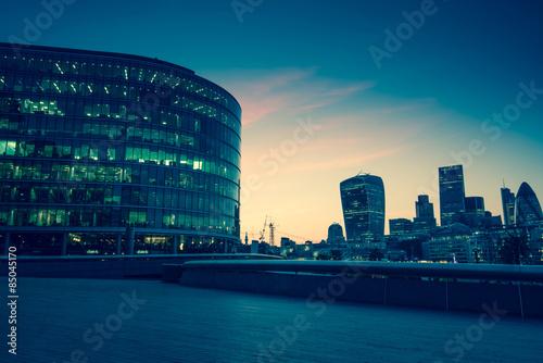London downtown skyline, vintage effect photo