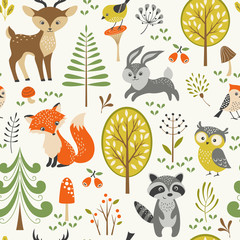 Naklejka Do pokoju dziecka Seamless summer forest pattern with cute woodland animals, trees, mushrooms and berries
