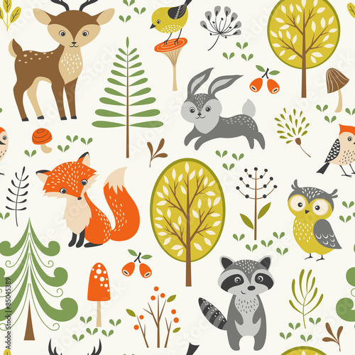 Valokuva  Seamless summer forest pattern with cute woodland animals, trees, mushrooms and
