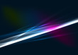 Abstract color glowing lines in dark space with stars and light
