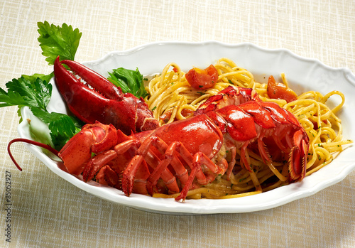 Gourmet Tasty Lobster with Linguine Pasta on Plate Canvas Print