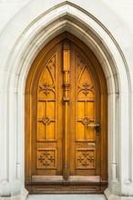 Old Wooden Door To The Church ...