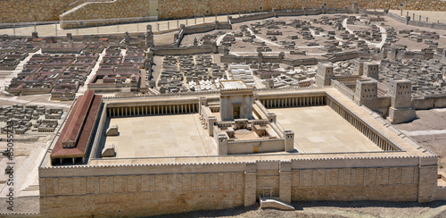 Garden Poster Temple Second Temple Model of the ancient Jerusalem - Israel
