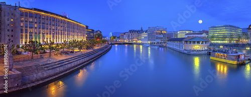 Urban view with famous fountain and Rhone river, Geneva Wallpaper Mural