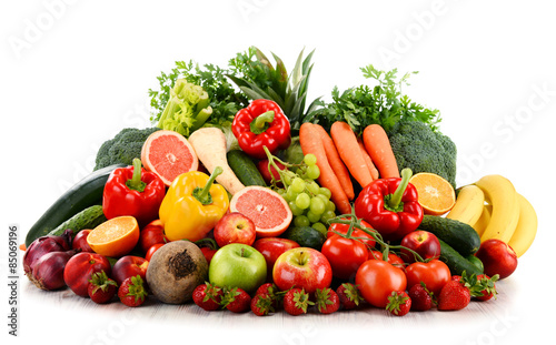 Variety of organic vegetables and fruits isolated on white © monticellllo