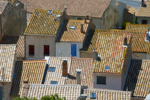 Keuken foto achterwand Seoel View over the rooftops of the small medieval town Gruissan, near Narbonne, in the Aude region of France