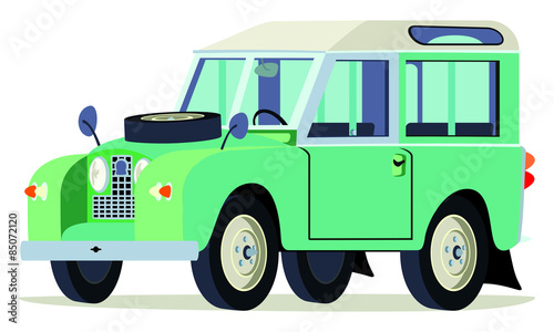 Photo  Caricatura Land Rover verde vista frontal y lateral