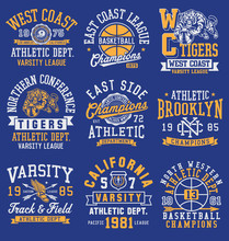 Athletic Themed Graphics, Emblems And Layout Set