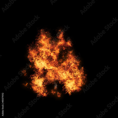 Fotografie, Obraz  Realistic fiery explosion busting over a black.