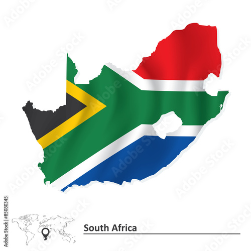 Map of South Africa with flag