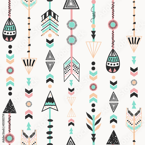 Cotton fabric Tribal Style Arrows Seamless Pattern