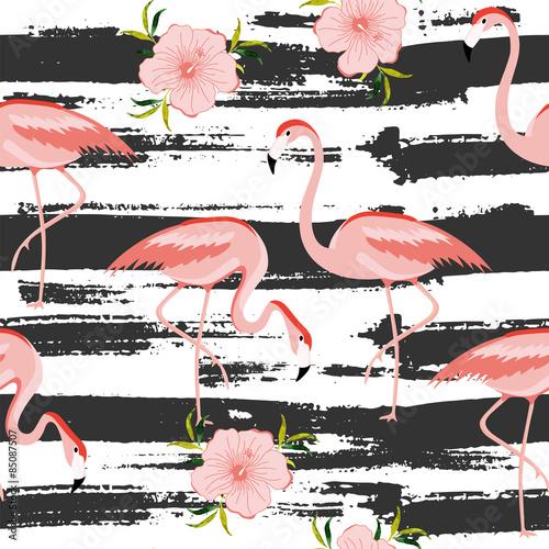 bezszwowy-wzor-z-rozowym-flamingiem-ilustracji-wektorowych